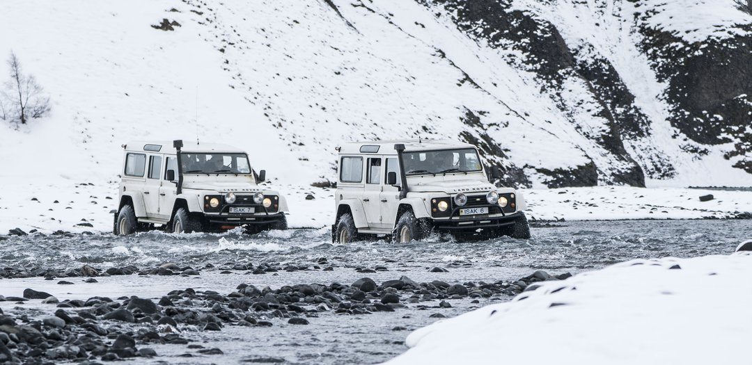 Land Rover River crossing in winter in Þórsmörk Iceland